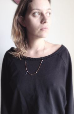 Gold plated Hematite Long Minimal pendant Gift for her by CyKLu