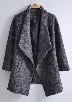 Dark Grey Lapel Long Sleeve Pockets Coat