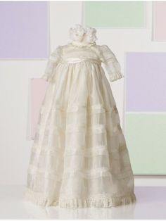 Organza and Cotton Ruffled Lace Neckline Empire Waistband Bodice Flower Girl Dress