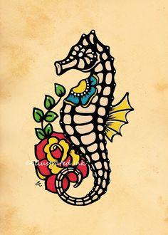 Old School Tattoo Art Death MOTH Skull Print 5 x by illustratedink