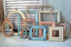 Coral and Blue Vintage Frames, Set of 12 Blue, Cream, Coral Open Frames and Mirror Set, Instant Frame Gallery, Up Cycled,  Nursery Decor