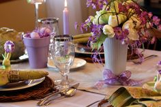 Easter Luncheon - Love the way she uses pots & spray paints then fills