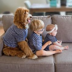 2 kids and a dog - 3 peas in a pod. Dogs And Kids, Animals For Kids, Cute Baby Animals, Animals And Pets, Dog Love, Puppy Love, Animal Pictures, Cute Pictures, Doodle Dog