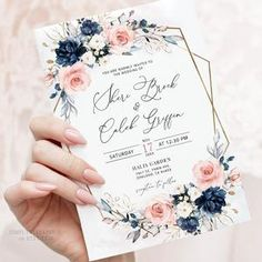 Peach Wedding Invitations, Pink Invitations, Floral Invitation, Invitation Set, Wedding Invitation Templates, Invites, Blush Pink Weddings, Navy Peach Wedding, August Wedding