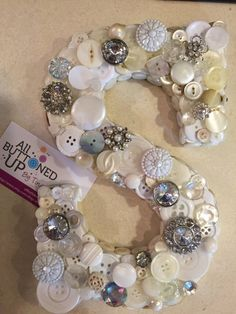 White Ivory and Silver 9 inch Button Initial S  ~ Custom Initials Available ~ Personalized ~ Shower Gift ~ Birthday Gift ~ Shabby Chic Decor