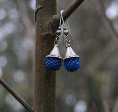 Pendientes Azules Largos  Pendientes Plata Antigua