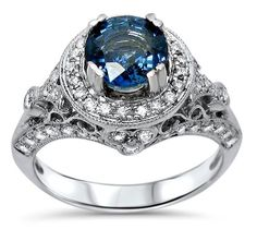 1.65ct Blue Sapphire Round Diamond Engagement Ring 14k White Gold Vintage Style 1