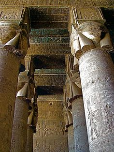 ✮ Columns in Temple of Hathor in Dendera - Egypt #Egypt