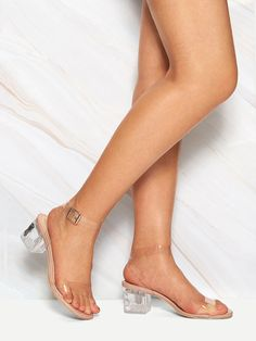 To find out about the Transparent Ankle Strap Chunky Heels at SHEIN, part of our latest Heels ready to shop online today! Clear Heels, Ankle Strap Heels, Ankle Straps, Shoes Heels, Red Lips, Open Toe, Eye Makeup, Coral