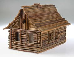 "Folk Art Twig "" Log Cabin"" Home image 3"