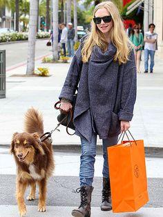 Amanda Seyfried and her Australian Shepherd dog, Finn