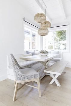 White Dining Table, Dining Table With Bench, Dining Nook, Dining Room Design, Dining Room Table, Dining Chairs, Whitewash Dining Table, Table Seating, Beach Dining Room