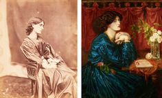 A photograph of Janey Morris, and Dante Gabriel Rossetti's subsequent painting of her.....