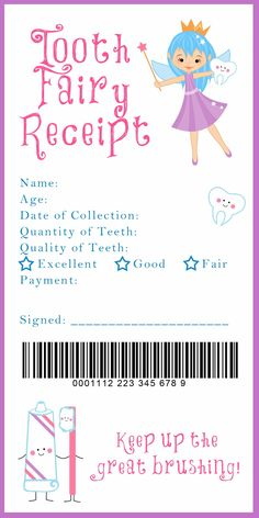 Tooth Fairy Receipt and many other awesome printables