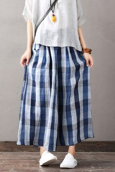 Loose Plaid Cotton Linen Trousers Women Wide Leg Pants K1869