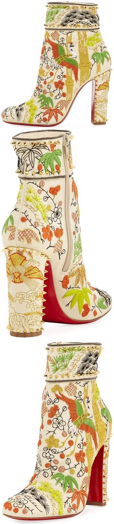 Christian Louboutin Bamboot Embroidered Red Sole Bootie