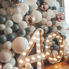 40th Birthday Party For Women, 40th Birthday Themes, 40th Birthday Balloons, 40th Party Ideas, 40th Bday Ideas, Elegant Birthday Party, Birthday Balloon Decorations, Happy 40th Birthday, Birthday Backdrop