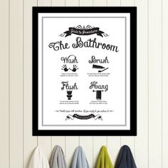 Guide to Procedures: The Bathroom - 11x14 print - Bathroom, Rules, Sign, Vintage, Decor, Art, Wall, Wash, Brush, Flush, Hang. $23.00, via Etsy.