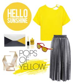 """""""Pops of Yellow"""" by pramesvvari on Polyvore featuring Sans Souci, Steve Madden, Chicwish, Lauren B. Beauty, CÉLINE, Diesel, PopsOfYellow and NYFWYellow"""