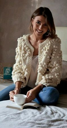 Give your wardrobe a subtle, classy upgrade. You deserve all of this cozy ivory . - Give your wardrobe a subtle, classy upgrade. You deserve all of this cozy ivory glory. Knit Your Lo Pom Pom Sweater, Comfy Sweater, Fall Cardigan, Cream Cardigan, Crochet Cardigan Pattern, Crochet Jacket, Mode Vintage, Look Fashion, Trendy Fashion