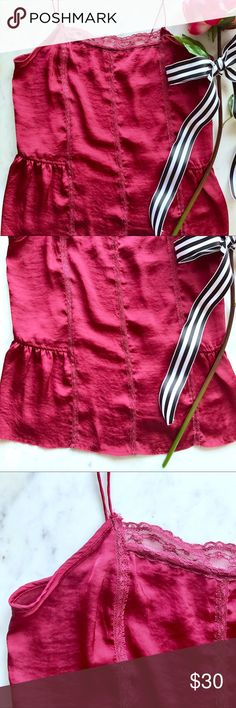 Free People Magenta Silky Slip Cami 🚨SALE EXTENDED🚨: Bundle 2+ items and get an automatic ✨25% Off!✨ Offers also welcome!  Layer with ease with this silky magenta cami from Free People! Features spaghetti straps, a square neckline, lace detailing, and side peplum ruffles. From the Intimately Free People collection. Is in like new condition, only worn once! Free People Tops Camisoles