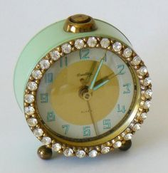 Vintage Jadeite Green Bradley Rhinestone Alarm Clock $65.00 by bizz