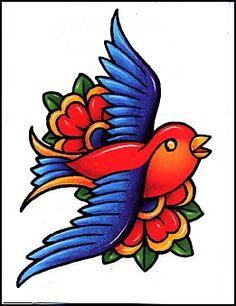 Colorful Bird w/ Flowers