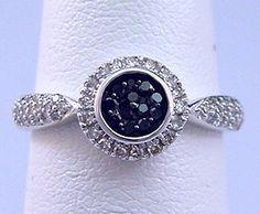 1/3 ct tw Black & White Diamond Halo Style Ring 10kt White Gold - Black Diamonds