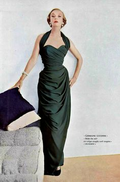 1952 Model in green crepe, draped, evening gown with halter neckline by Germaine Lecomte, photo by Richard Dormer