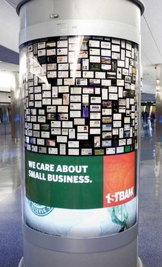 1st Bank in Denver wanted everyone to know they care about small businesses. To make their point, the bank bought rotating, backlit displays at waiting areas in Denver's airport, showcasing business cards from hundreds of business banking customers.
