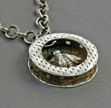 """Mirinda Kossoff - Fine silver (PMC) """"bee in a box"""" pendant"""