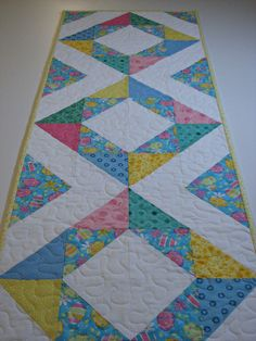 Easter Quilted Table Runner, Spring Table Runner, Pastel Easter Egg Table Mat, Quiltsy Handmade by VillageQuilts on Etsy