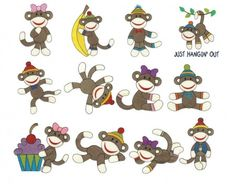 Cute sock monkeys filled machine embroidery designs