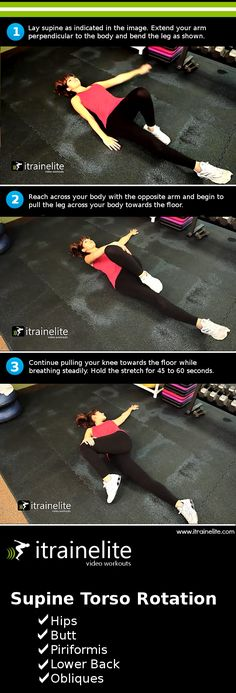 Supine torso rotation stretch. Great for lower back pain, hip pain, piriformis syndrome and general sciatic pain.
