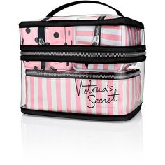 Victoria's Secret Four-piece Travel Case ($60) ❤ liked on Polyvore featuring bags, luggage and pink