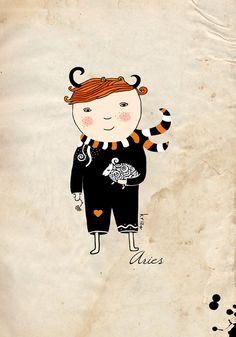 Aries boy print. Zodiac sign illustration. Digital print. by krize