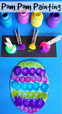 Restaurant Deals Kids Crafts DIY Contact Pom Pom Easter Egg Painting Craft for Kids March 2014 by Michelle McKinl. Kids Crafts, Painting Crafts For Kids, Daycare Crafts, Toddler Crafts, Craft Kids, Bunny Crafts, Craft Work, Easter Art, Easter Crafts For Kids