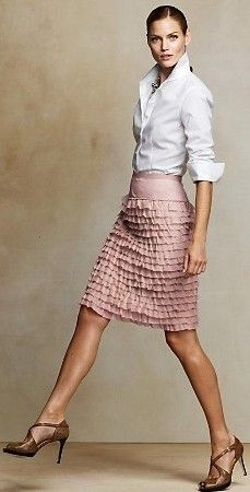 Ruffle Skirt:  Perfect work outfit, fashion forward yet refined.  #ruffle #work #whiteshirt #elegant