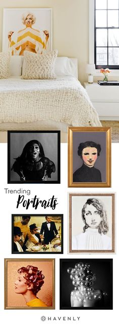 Trending in Art: Portraits. They add tons of spirit to a space!