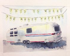 This Airstream trailer I created for my friends was SO fun to paint. It's the first inanimate object I've painted that I really enjoyed. #watercolor #art #artist #airstream #airstreamlife #camper #mobileoffice #havingfun
