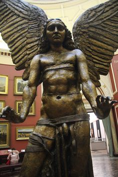 """"""" The Archangel Lucifer"""" (1944-5) in the round gallery of the """"Birmingham Museum & Art Gallery"""" by Sir Jacob Epstein."""