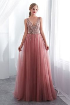 Dusty Pink V Neck Side Slit Beaded Long Evening Prom Dresses, Cheap Custom Sweet 16 Dresses, 18519 Dusty Pink V Neck Aspect Slit Beaded Lengthy Night Promenade Attire, Low cost Customized Candy 16 Attire, 18519 A Line Evening Dress, Formal Evening Dresses, Evening Gowns, Evening Party, Formal Gowns, Tulle Prom Dress, Cheap Prom Dresses, Party Dresses, Bride Dresses