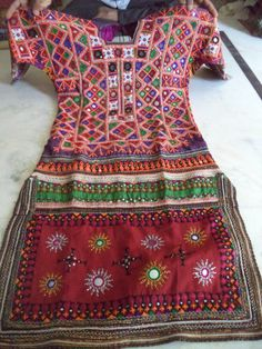 vintage dresses & costumes Beautiful heavily embroidered dress from india tribe #Handmade