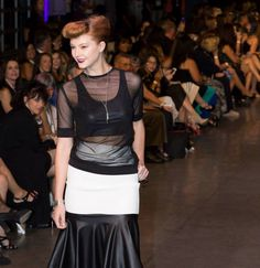 Pleather crop top and mesh top with a white skirt with pleather