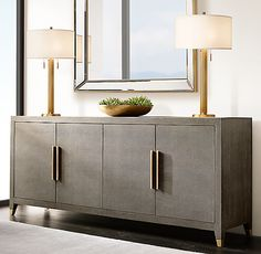 RH's Venetian Beaded Mirror:Our mirror features broad beveled glass embraced by a mirrored frame that's accented with metallic-toned cast resin beading. Console Table Styling, Sideboard Table, Modern Sideboard, Entryway Cabinet, Entryway Decor, Furniture Vanity, Modern Furniture, Luxury Furniture, Beaded Mirror