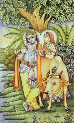 Radha Krishna with Cow (Reprint on Paper - Unframed))