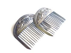 Chinese Silver Combs Repousse Box Kites Antique Hair Accessories by zephyrvintage on Etsy