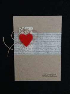 "Carte de félicitations mariage ""Poetic Love"" Homemade Valentines Day Cards, Valentine Day Cards, Photo Album Scrapbooking, Scrapbook Cards, Wedding Anniversary Cards, Wedding Cards, Cool Cards, Diy Cards, Karten Diy"