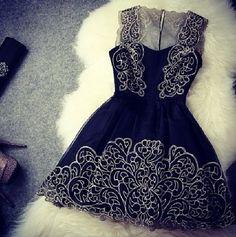 Embroidery Stitching Lace Dress