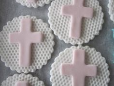 Cross for First Communion Baptism Christening 100% edible Fondant cupcake toppers cake toppers. $12.00, via Etsy.